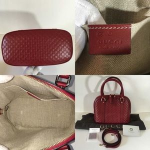 New Gucci Medium Red Micro Gg Guccissima Shoulder